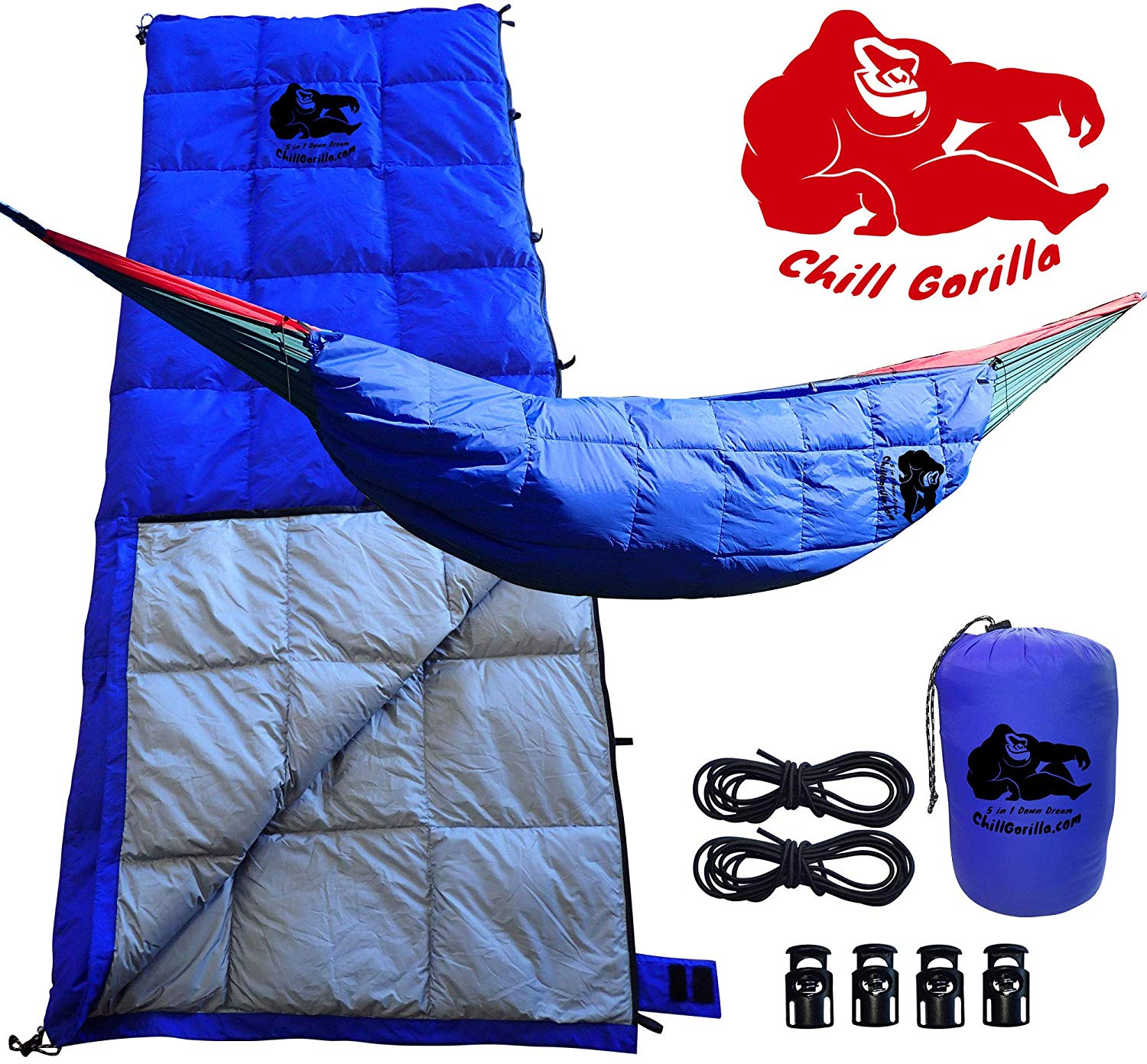 Chill Gorilla 30°F Down UNDERQUILT, Sleeping Bag, POD System for Hammock