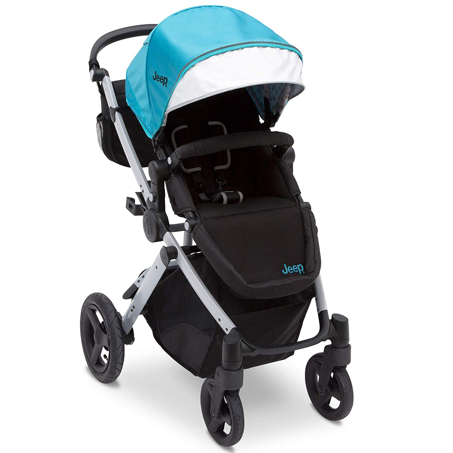 Jeep Sport Utility All-Terrain Stroller, Aqua on Silver Frame