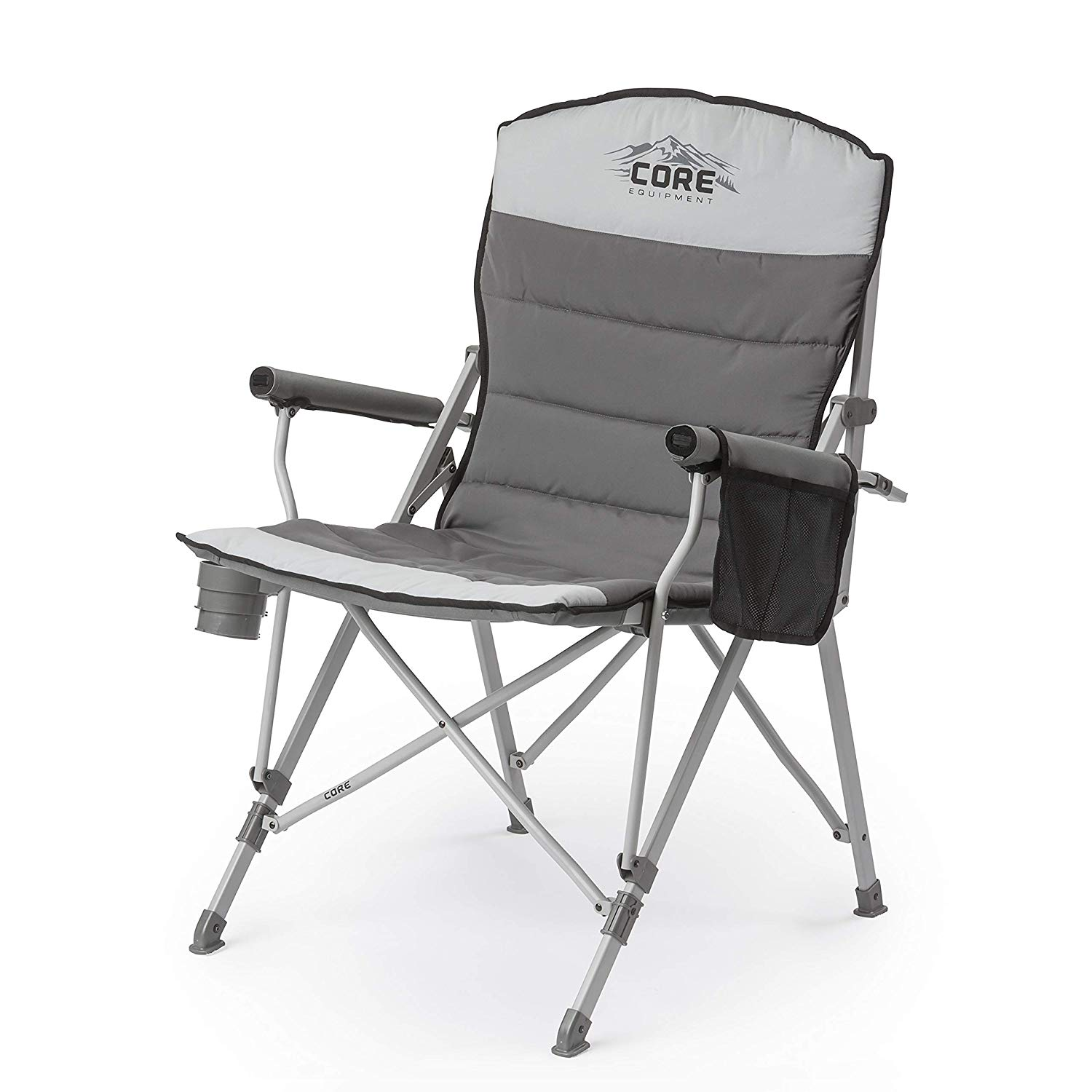 CORE 40021 Equipment Folding Padded Hard Arm Chair with Carry Bag