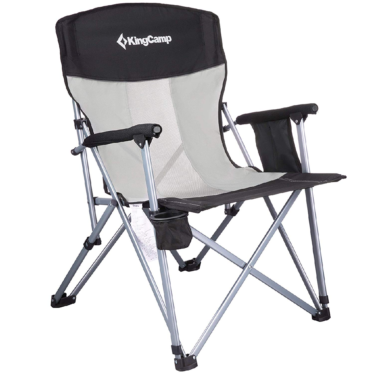 KingCamp Camping Chair Mesh High Back Ergonom with Cup Holder Armrest Pocket Headrest Breathable Folding Portable Oversize Heavy Duty