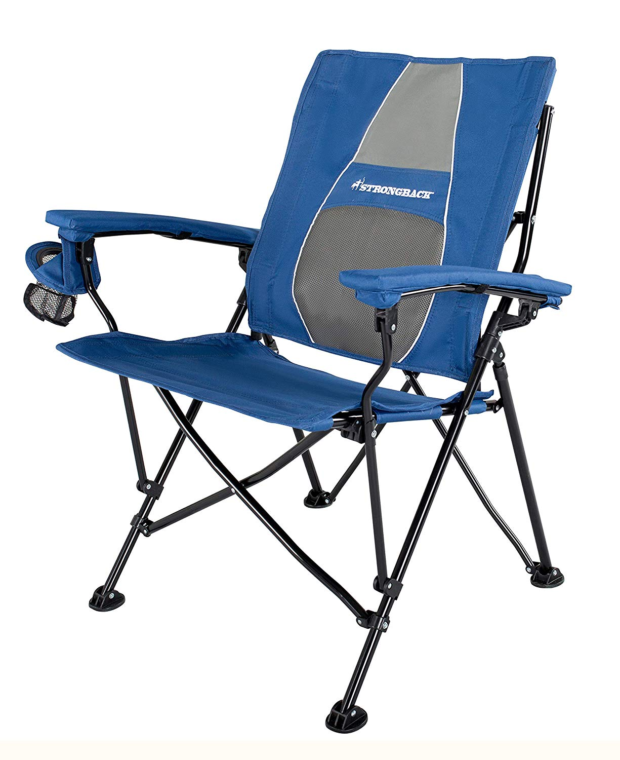 STRONGBACK Elite Folding Camping Lawn Lounge Chair Heavy Duty Camp Outdoor Seat Navy