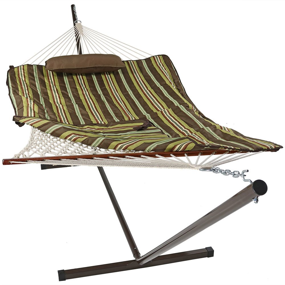 Sunnydaze Cotton Rope Freestanding Hammock with 12 Foot Portable Steel Stand