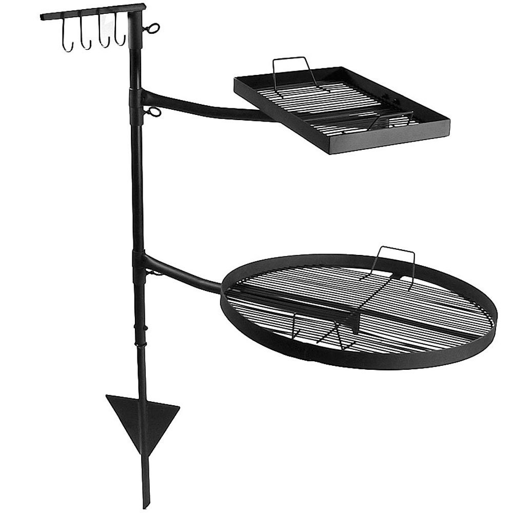 Sunnydaze Dual Campfire Steel Cooking Grill Grate Swivel System