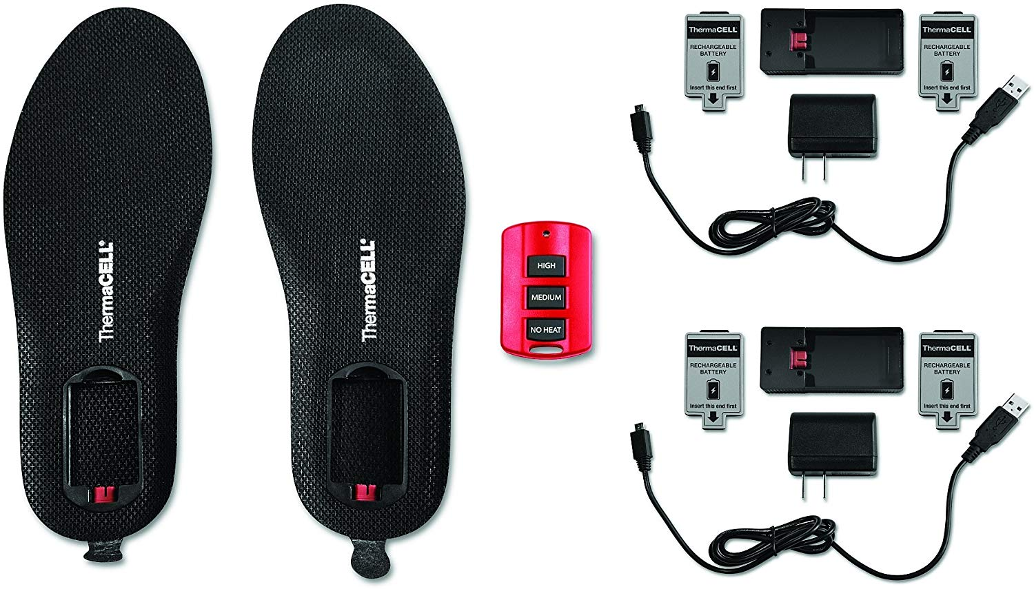 Thermacell Proflex Remote Controlled Flexible Heated Shoe Insole with Rechargeable Battery and Additional Battery
