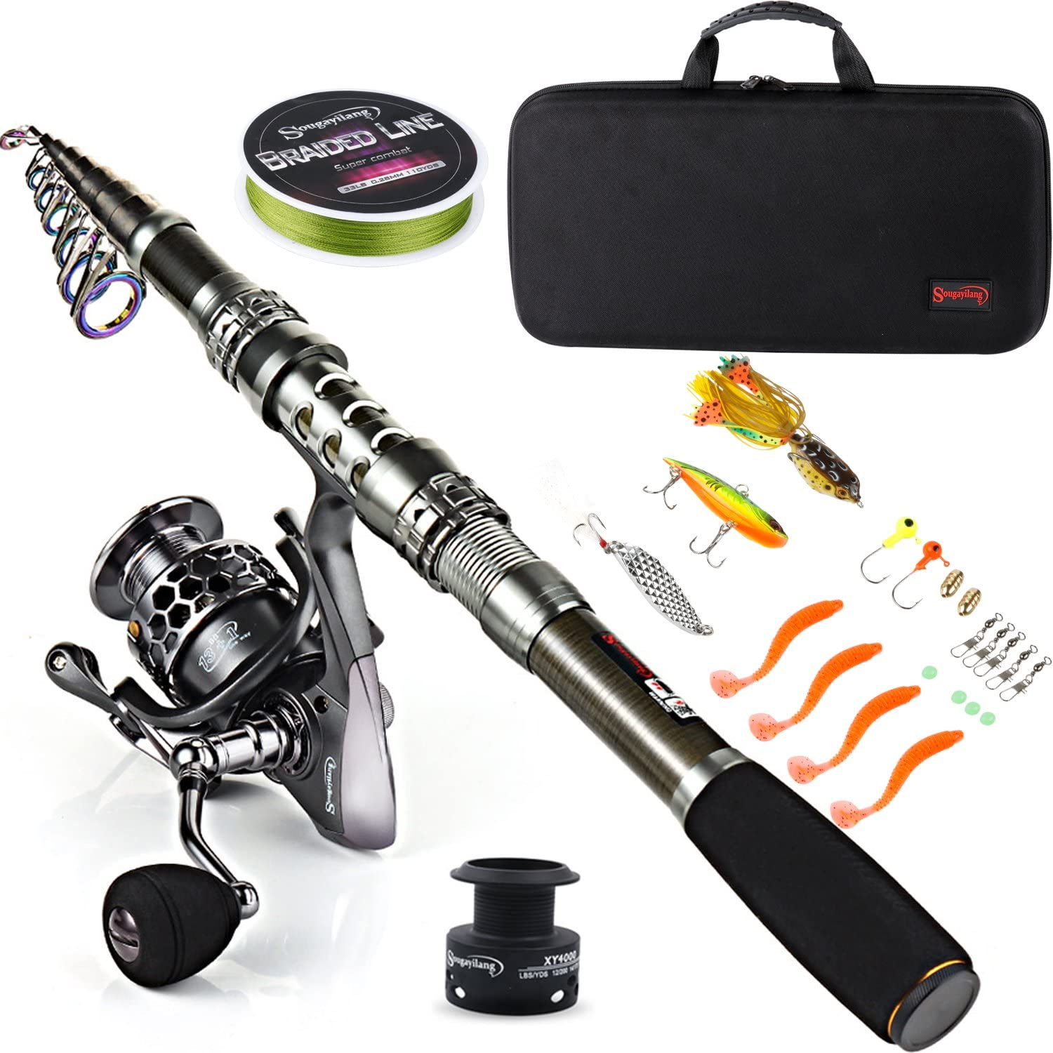 Sougayilang Fishing Rod Combos with Telescopic Fishing Pole Spinning Reels Fishing Carrier Bag for Travel