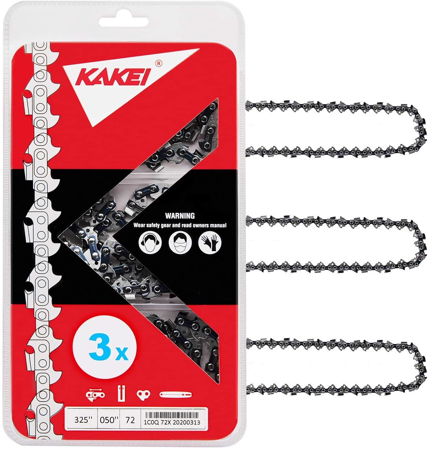 """KAKEI Chainsaw Chain 18-Inch.050"""" Gauge, 0.325"""" Pitch, 72 Drive Links Fits Dolmar, Echo, Homelite, McCulloch, Poulan (3)"""