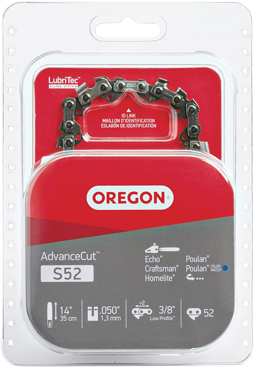 Oregon S52 AdvanceCut Chainsaw Chain for 14-Inch Bars, Fits Craftsman, Echo, Homelite, Poulan, 52 Drive Links