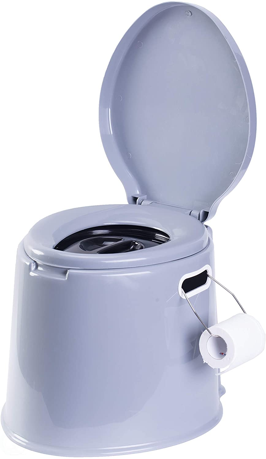 """PLAYBERG Portable Indoor & Outdoor Travel Toilet for Camping and Hiking Indore 8 Gallon Waste Tank, Grey, 17"""" W x 16"""" D x 14"""" H (QI 003241 NEW)"""