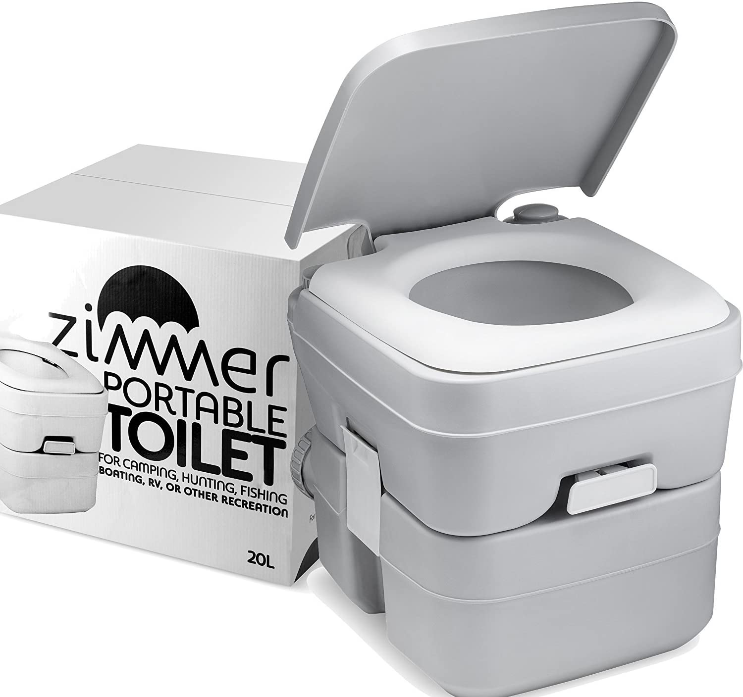 Portable Toilet Camping Porta Potty - 5 Gallon Waste Tank - Durable, Leak-Proof, Flushable Easy to use RV Toilet With Detachable Tanks for Effortless Cleaning & Carrying, for Travel, Boating, and Trips