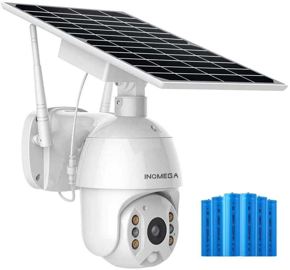 INQMEGA Solar Battery Powered Outdoor PTZ IP-Camera, Wireless Pan Tilt Solar Powered WiFi Security Camera System Rechargeable Battery Outdoor, Motion Detection, 2-Way Audio