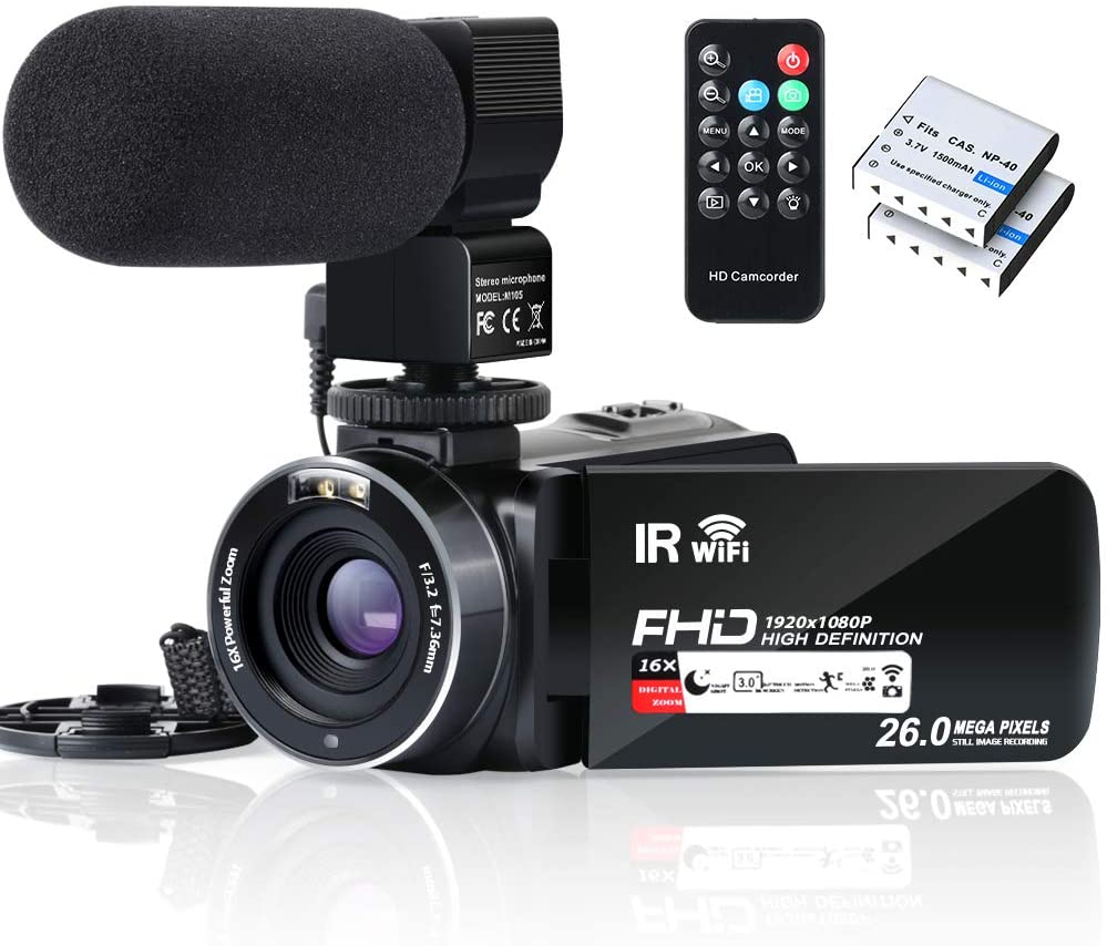 Video Camera Camcorder WiFi IR Night Vision FHD 1080P 30FPS YouTube Vlogging Camera Recorder 26MP 3.0'' Touch Screen 16X Digital Zoom Camcorder with Microphone, Remote and 2 Batteries